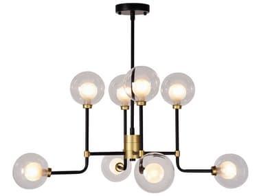 Zentique Abstract Globe Matte Black / Gold 8-light 31'' Wide Glass Pendant ZENZD76028BG