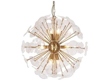 Zentique Petal Burst Gold 8-light 45'' Wide Glass Pendant ZENZD76298BR