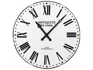 Zentique Distressed White / Black Corvin Wall Clock ZENPC057