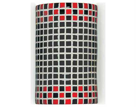 A19 Lighting Mosaic Checkers Red & Black Wall Sconce