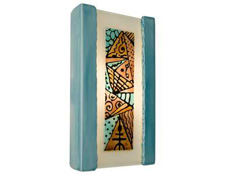 A19 Lighting reFusion Abstract Teal Crackle & Turquoise Wall Sconce