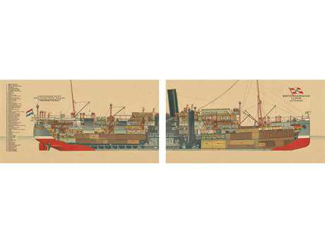 Authentic Models Mailboat Indrapoera 1926 Two-Piece Wall Art