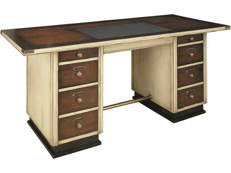 Authentic Models Furniture 67 x 30 Rectangular Captain Ivory Executive Desk