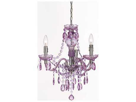 AF Lighting Fulton Chrome Three-Light 19'' Mini Chandelier with Purple Accents