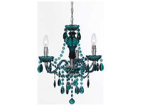 AF Lighting Fulton Chrome Three-Light 19'' Mini Chandelier with Green Accents