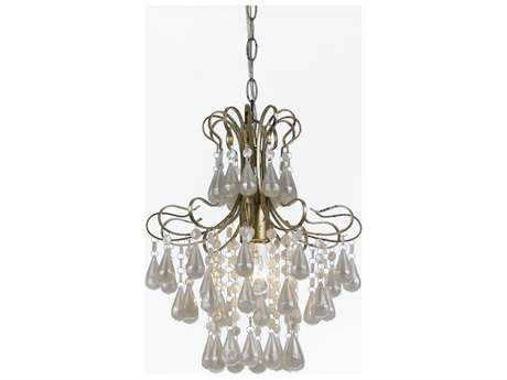 AF Lighting Tiffany Soft Gold and White Pearl 12'' Mini Pendant Light