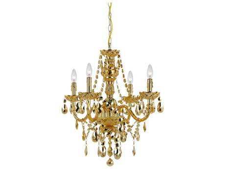AF Lighting Naples Gold Four-Light 21.5'' Wide Mini Chandelier