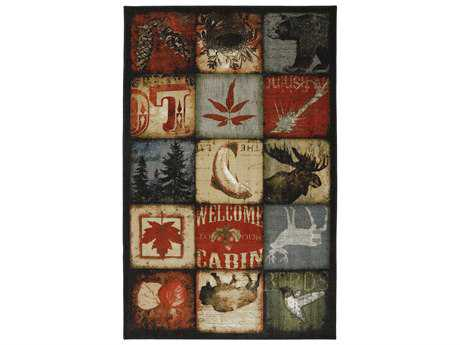 American Rug Craftsmen Escape Lodge Patches Rectangular Red Area Rug