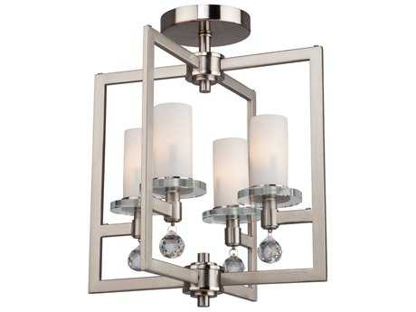 Artcraft Lighting Cambridge Brushed Nickel Four-Light 10.5'' Wide Semi-Flush Mount Light