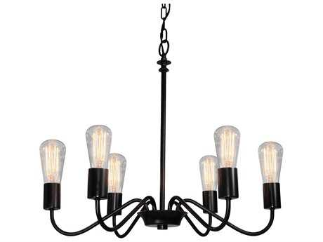 Artcraft Lighting Jasper Park Black Six-Light 24'' Wide Chandelier
