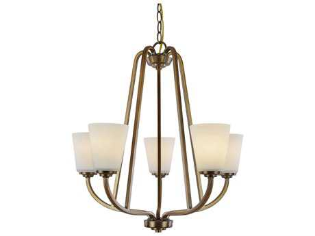 Artcraft Lighting Hudson Vintage Brass Five-Light 24.5'' Wide Chandelier