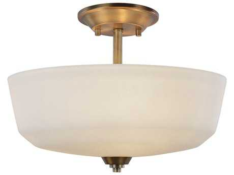 Artcraft Lighting Hudson Vintage Brass Three-Light Semi-Flush Mount Light