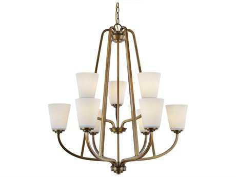 Artcraft Lighting Hudson Vintage Brass Nine-Light 28.75'' Wide Chandelier