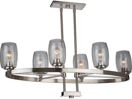 Artcraft Lighting San Antonio Brushed Nickel Six-Light 40'' Wide Island Light