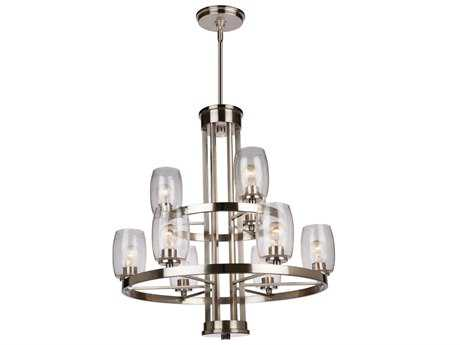 Artcraft Lighting San Antonio Brushed Nickel Nine-Light 31'' Wide Chandelier