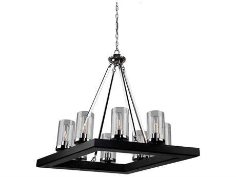Artcraft Lighting Canyon Creek Black Eight-Light 20'' Wide Chandelier