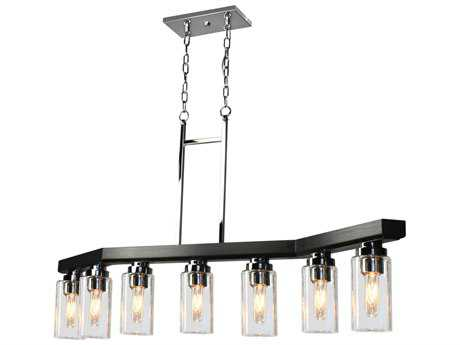 Artcraft Lighting Canyon Creek Clear Glass Seven-Light 49'' Wide Island Light