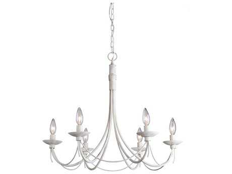 Artcraft Lighting Wrought Iron Antique White Six-Light 25'' Wide Chandelier