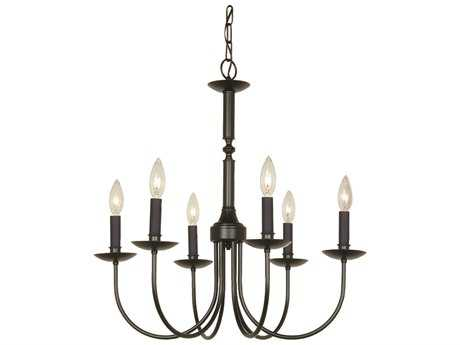 Artcraft Lighting Wrought Iron Black Six-Light 22'' Wide Mini Chandelier