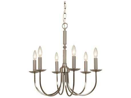 Artcraft Lighting Wrought Iron Stainless Steel Six-Light 22'' Wide Chandelier