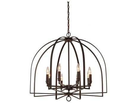 Artcraft Lighting Birds Of A Feather Black Eight-Light 28'' Wide Chandelier