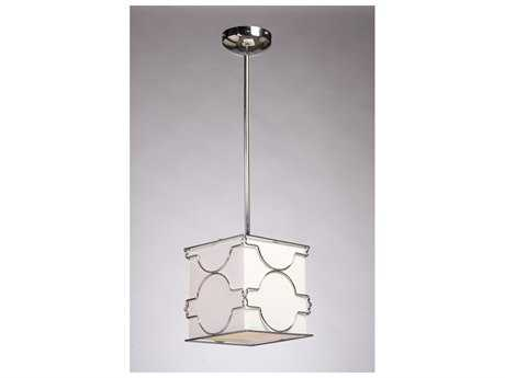 Artcraft Lighting Morocco Chrome & White Linen Mini-Pendant