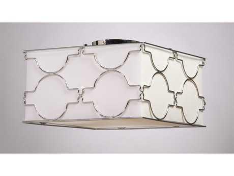 Artcraft Lighting Morocco Chrome & White Linen Four-Light Flush Mount Light