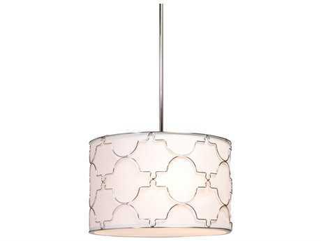 Artcraft Lighting Morocco Chrome & White Linen Four-Light Pendant