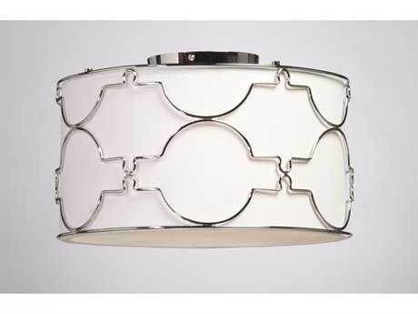 Artcraft Lighting Morocco Chrome & White Linen Three-Light Flush Mount Light
