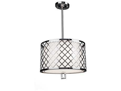 Artcraft Lighting Trellis Chrome & Linen Three-Light Pendant