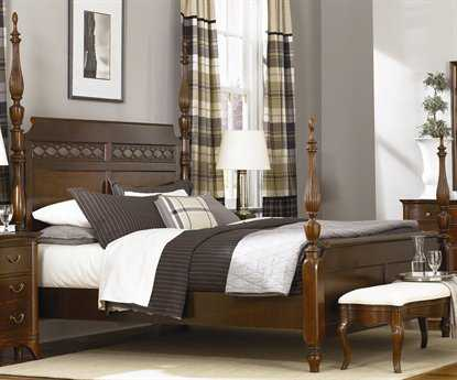 American Drew Cherry Grove Mid Tone Brown Queen Size Poster Bed