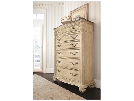American Drew Jessica McClintock Boutique White Veil with Revival Top 44''L x 19''W Rectangular Chest of Drawers