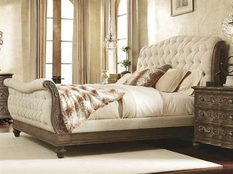 American Drew Jessica McClintock Boutique Baroque With Linen Fabric Queen  Size Sleigh Bed