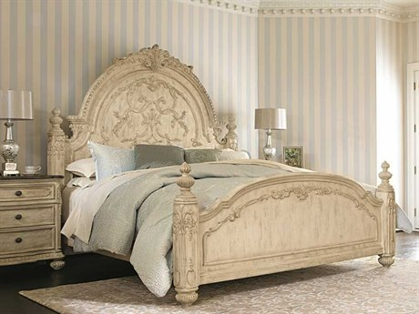 American Drew Jessica McClintock Boutique White Veil King Size Mansion Poster Bed