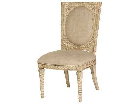 American Drew Jessica McClintock Boutique White Veil with Linen Fabric Dining Side Chair