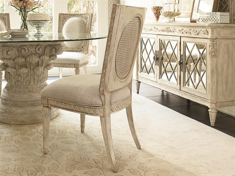 drew boutique white veil linen fabric dining side chair american furniture jessica mcclintock home collection lea romance collec