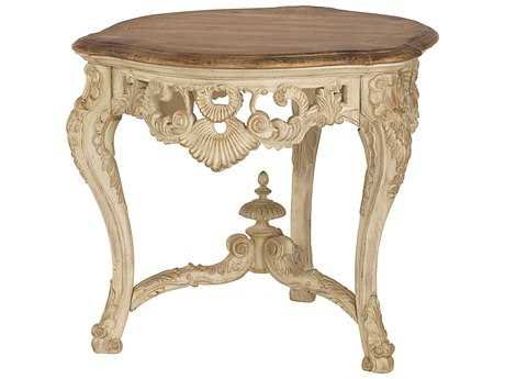 American Drew Jessica McClintock Boutique White Veil with Revival Top 32''L x 34''W Carved End Table