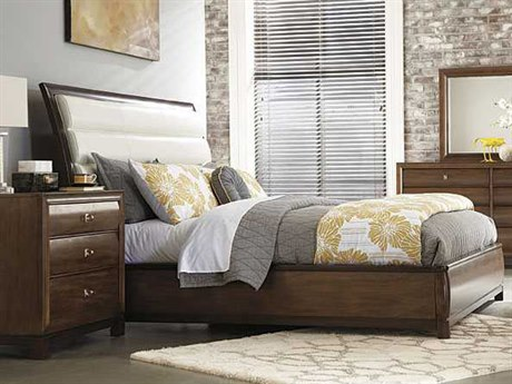 American Drew Miramar Upholstered Bi-Cast Leather Queen Size Bed