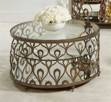 American Drew Bob Mackie 38 Round Coffee Table with Glass Top