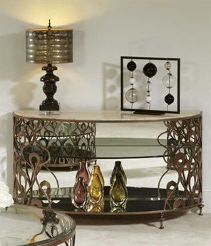 American Drew Bob Mackie 54 x 18 Demilune Sofa Table
