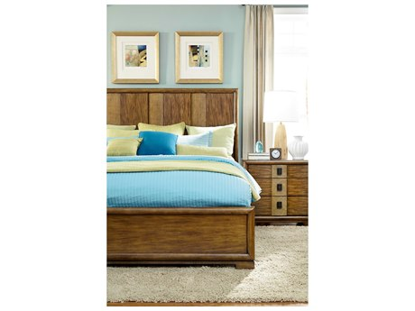 American Drew Grove Point Chocolate Brown King Raffia Panel Bed