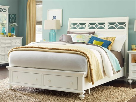 American Drew Lynn Haven Dover White Queen Size Sleigh Bed with Storage