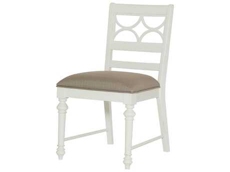 American Drew Lynn Haven Dover White Fret Work Dining Side Chair