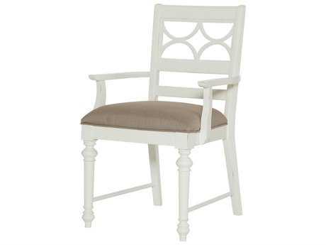 American Drew Lynn Haven Dover White Fret Work Dining Arm Chair