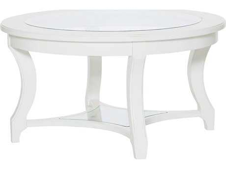 American Drew Lynn Haven Dover White 38'' Wide Round Cocktail Table
