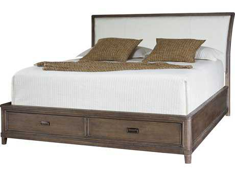 American Drew Park Studio Weathered Taupe with Gray Wash King Size Sleigh Bed with Storage