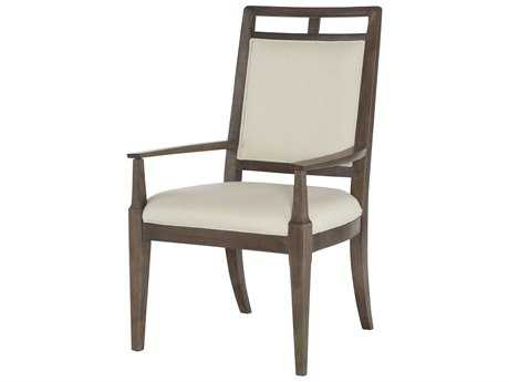 American Drew Park Studio Weathered Taupe with Gray Wash Wood Back Dining Arm Chair
