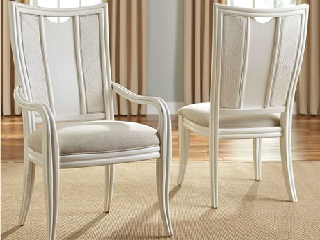 American Drew Siesta Sands White Sands Splat Back Dining Arm Chair (Sold in 2)