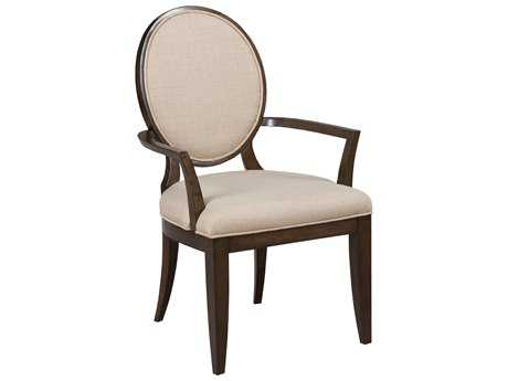 American Drew Grantham Hall Deep Coffee Tone Dining Arm Chair with Decorative Back