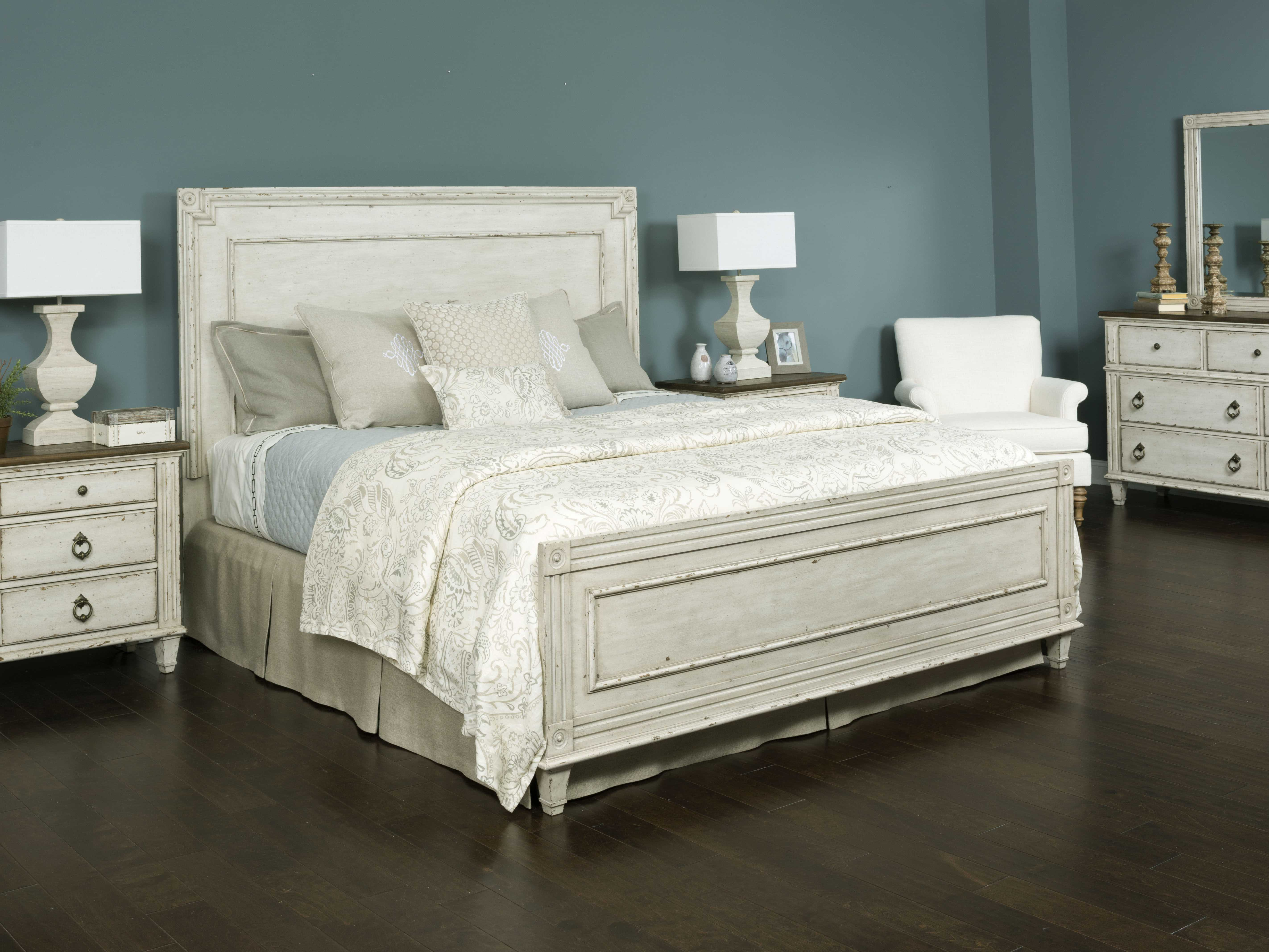 american drew southbury white parchment king size panel bed ad513306r. Black Bedroom Furniture Sets. Home Design Ideas